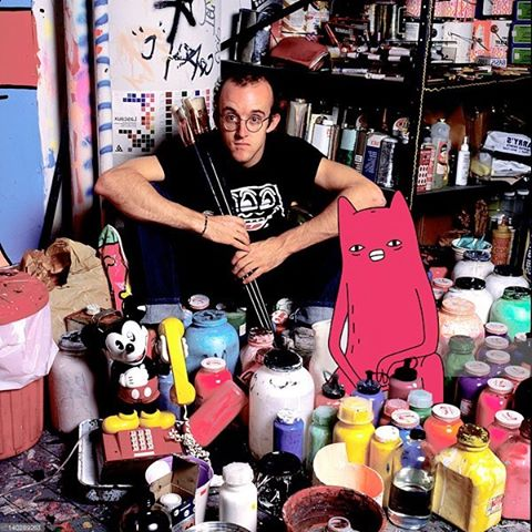Abel and Keith Haring in studio